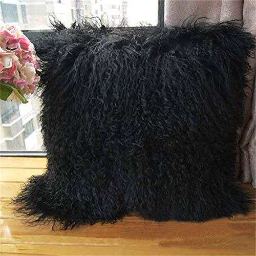 Seek4comfortable Real 100% Tibetan Mongolian Lamb Sheepskin Wool Fur Super Soft Plush Leather Pillowcase Cushion Cover,Black, 16 x 16 inch