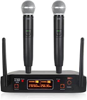 XTUGA A10 2Channel Cordless Microphone System UHF Wireless Karaoke Microphone System 2 Mic Use for Family Party, Church, S...