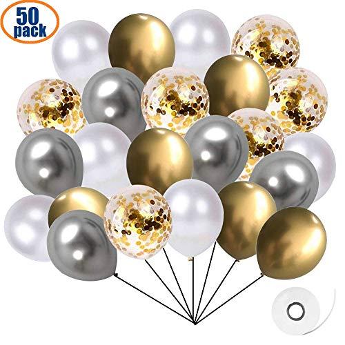 Ourworld 50 Stück Golden Luftballons Gold Luftballons Silber Weiß Helium Ballons Konfetti Luftballons Hochzeit hochzeitsballons, 12 Zoll Latex Ballon Metallic Luftballons für Geburtstag Hochzeit Taufe