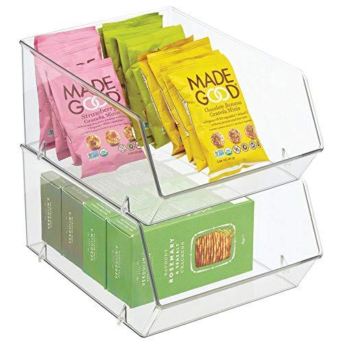 mDesign Organizer frigo in plastica – Scatola da cucina con parte anteriore aperta per frigo, armadietti e scaffali – Contenitori cibo ideali per diversi tipi di alimenti – Set da 2 – trasparente