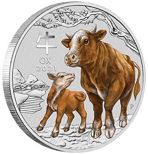 Lunar III Ochse 2021 farbig coloriert 1 Unze Silber Münze Silbermünze Perth Mint Lunar 3