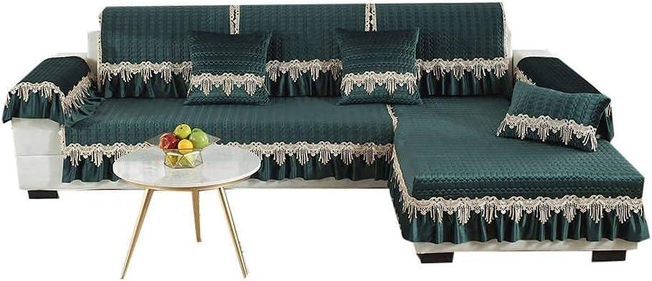DFJU Thicken Funda para sofá, Funda para sofá de 3 plazas, Funda Antideslizante para sofá, Protector de Muebles para niños, Sala de Estar, combinación de sofá, sillón-43x82-verde