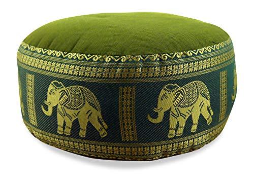 livasia Kapok Zafukissen, Sitzkissen, Yogakissen, Bodensitzkissen, Meditationskissen (grün-Elefanten)