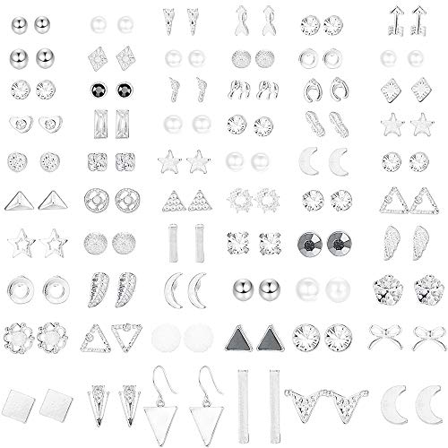 ORAZIO 60 Pairs Stud Earrings for Women Men Triangle Square Circle Bar Star Moon Geometric Leaf Arrow Bow CZ Ball Faux Pearl Earrings Set