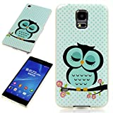Handy Lux® Schutz Hülle Etui Silikon TPU Hülle Cover Design Motiv für Samsung Galaxy E5 - Baum AST Eule Grün