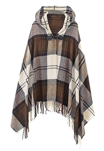 Womens Vintage Plaid Knitted Tassel Poncho Shawl Cape Button Cardigan (One Size, Series 2 Camel)