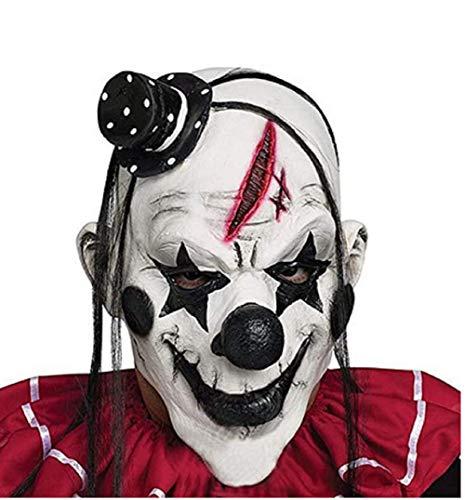 Minasan Máscara de payaso de Halloween, máscara de payaso 3/4, máscara de látex, máscara de terror, máscara de terror, máscara de terror, máscara de terror, color negro, talla única