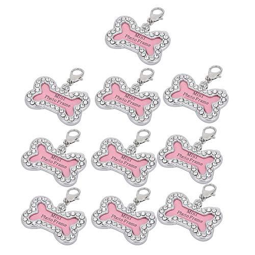 Soapow 10 collares colgantes de acero inoxidable con etiquetas de identificación personalizadas, con letras antipérdidas y letras para mascotas