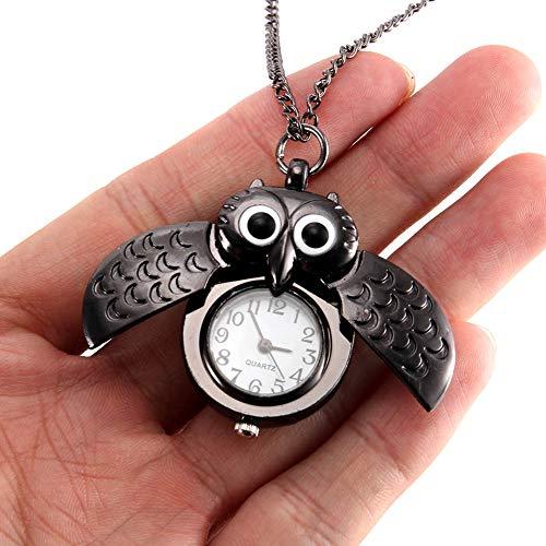 LOOIUEX Reloj de Bolsillo Reloj de Bolsillo Vintage para Mujer, Reloj de Cuarzo, Cadena Fresca, Bonita Cubierta de búho, Relojes XIN-Shipping