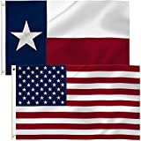 Texas and American US Flags,Embroidered Stars 210D Nylon Flags, State of Texas TX and USA 3 x 5 Feet Flag with Brass Grommets,2 Pcs