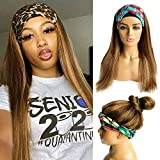 Headband Wigs Human Hair Honey Blonde Highlights Pre Plucked Hairline Straight Real Remy Hair Half Wigs for Black Women Balayage Machine Made None Lace Front Wig Headband 150% Density Glueless 14 Inch