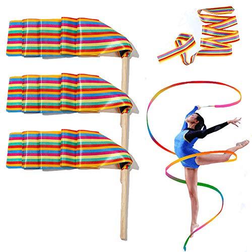 Gsyamh Baile Cintas Serpentinas Danza Gimnasia Cintas De Colores Serpentinas Cinta De Gimnasia Rítmica para Niños Adecuado para Que Los Niños Practiquen Gimnasia Baile, Aumente El Color-3 Piezas