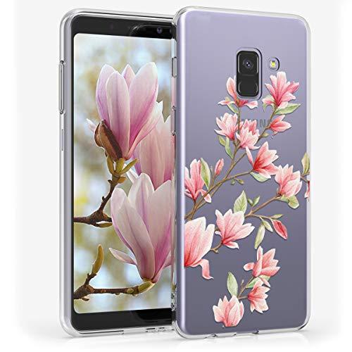 kwmobile Cover Compatibile con Samsung Galaxy A8 (2018) - Custodia in Silicone TPU - Backcover Protettiva Cellulare Magnolie Rosa/Bianco/Trasparente