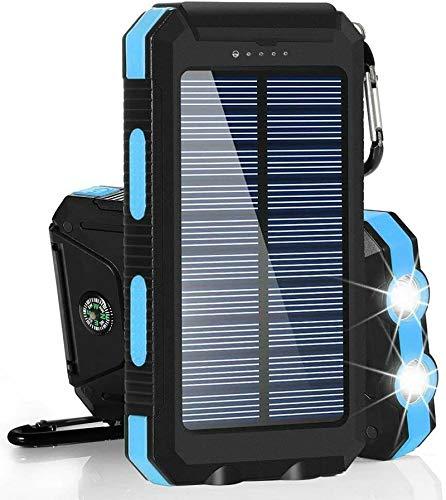 Banco De La EnergíA Solar, Cargador De BateríA Externo PortáTil Del Banco 10000Mah De La EnergíA Solar Impermeable 2021 (Azul)