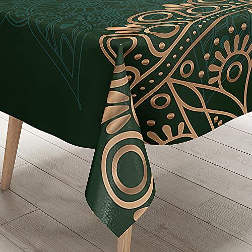 Hearda Mantel Antimanchas Impermeable Poliéster, Impresión de Mandala/Resistente Al Desgaste/Lavable, para Mesas Redondas, Cuadrado o Rectangulares (Oro Verde Oscuro,150x300cm)