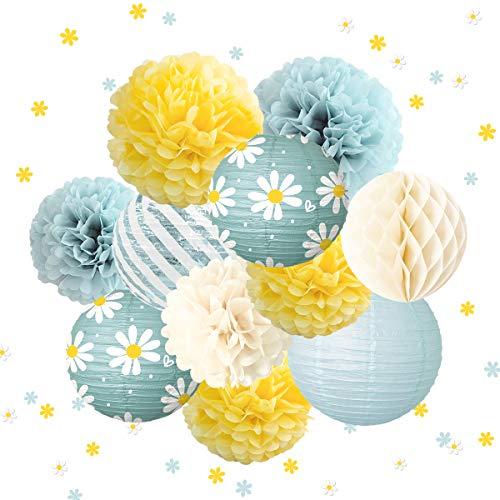 NICROLANDEE Geburtstagsparty-Dekorationen – 12 gelbe blaue Seiden-Bommeln in Gänseblümchenform, Konfetti für Geburtstag, Verlobung, Oster-Party, Babyparty, Frühling und Sommer, Heimdekoration