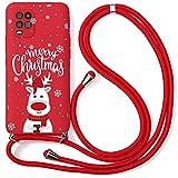 Yoedge Coque Collier pour Xiaomi Redmi Note 8 Pro, Rouge Silicone Etui avec Motif Cerf de Noël,...