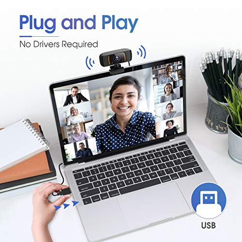 ansinna Webcam PC, 2K Webcam Ultra HD con Micrófono de Cancelación de Ruido, USB 2.0 de Cámara Web Compatible con Windows, Mac y Android para Videollamadas, Conferencias, Grabación (Naranja) miniatura