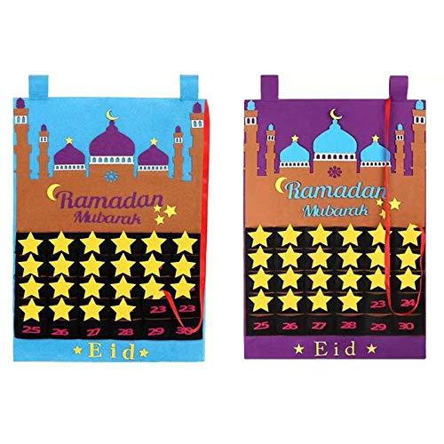 ZYXZXC Eid Mubarak Calendar Ramadan Advent Calendar Felt For Kids Wall Decorations,Advent Calendar 2021 Ramadan Decorations Gifts With 30 Stars,Festive Atmosphere,2pcs