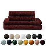 Blumtal Set de 2 Toallas de Baño (70x140cm) + 2 Toallas de Manos (50x100cm) - Toallas Suaves y Absorebentes, 100% algodón, Certificado Oeko-Tex 100, Rojo Oscuro