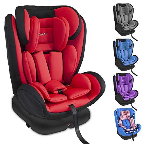 XOMAX KI360 Kindersitz drehbar 360° mit ISOFIX und Liegefunktion I mitwachsend I 0-36 kg, 0-12 Jahre, Gruppe 0/1/2/3 I 5-Punkt-Gurt und 3-Punkt-Gurt I Bezug abnehmbar, waschbar I ECE R44/04, Rot