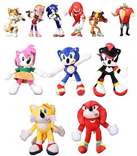 Juguetes Sonic 11 unids / Lote muñeco de Peluche sónico Negro Azul Amarillo Erizo Juguete de Peluche Suave Juego Caliente Sombra Nudillos Colas para niños