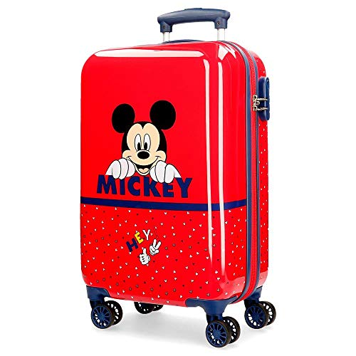 Disney Happy Mickey Maleta de Cabina Rojo 34x55x20 cms Rígida ABS Cierre...