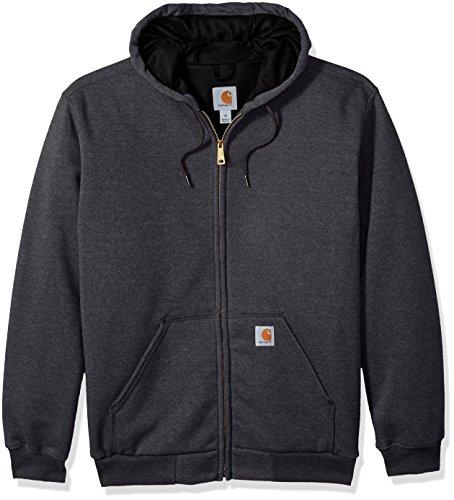 Carhartt Men's RD Rutland Thermal Lined Hooded Zip Front Sweatshirt, Carbon Heather - New, Medium
