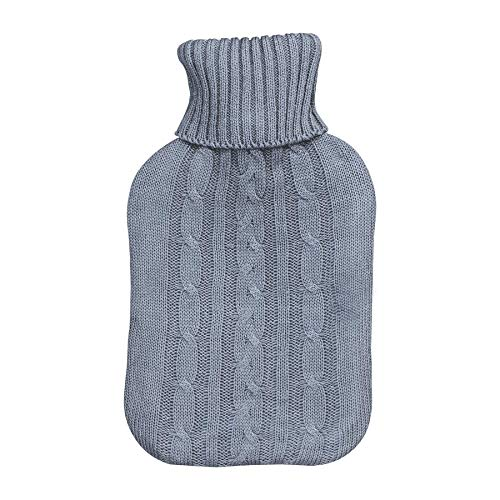 Harbour Housewares Full Size Hot Water Bottle 2L with Soft Knitted Cover Grey