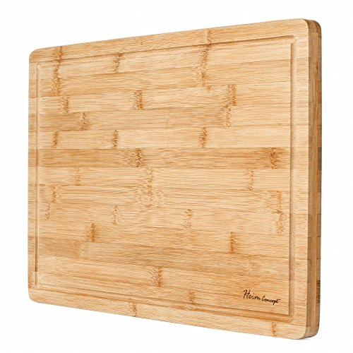 "Premium Organic Bamboo [ HEIM CONCEPT ] Extra Large Cutting Board and Serving Tray with Drip Groove [ 18"" x 12"" x ¾"" inch Thick ] Eco-Friendly Thick Strong Bamboo Kitchenware"