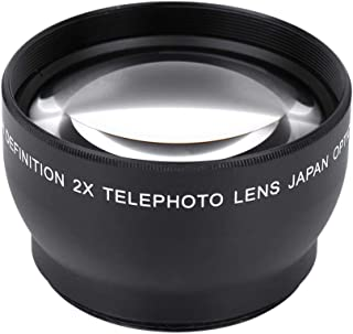 Telephoto Conversion Lens, 52mm 2X Magnification Unversal HD Converter Telephoto Lens of High Definition for 52mm Mount Ca...
