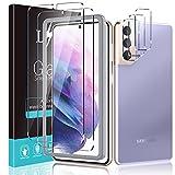 LϟK 5 Pack Protector de Pantalla por Samsung Galaxy S21(No S21+) 5G 6.2 Pulgada con 2 Pack Cristal Vidrio Templado y 3 Pack Protector de Lente de Cámara - Dureza 9H Sin Burbujas Kit Fácil instalación
