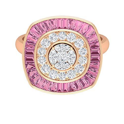 Rosec Jewels - 18 Karat Rotgold Markise Prinzessschliff Runder Brilliantschliff Leicht Getöntes Weiß/Top Crystal (I) Diamant