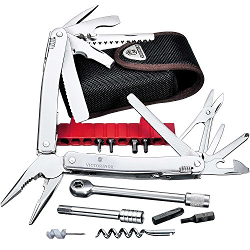 Victorinox Swiss Tool Spirit XC Plus Ratchet, 36 Funktionen, Klinge mit Wellenschliff, Kombi-Spitzzange, Nylon Etui, silber