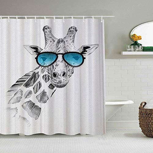 Duschvorhang Giraffe mit Brille Skizze wasserdichte Badeinlagen Haken enthalten - Badezimmer Dekorative Ideen Polyester Stoff Zubehör