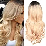 Blonde Wig Long Wavy Ombre Wig Brown to Blonde High Density Heat Resistant Synthetic Hair Weave Full Wigs for Women Daily Party Cosplay Use