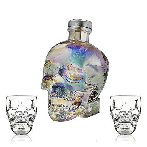 CRYSTAL HEAD VODKA AURORA 70cl + 2 x Skull Plastic Shot Glasses (GIFT SET)