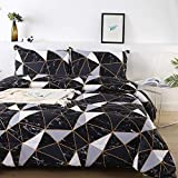 Litanika Black Marble Comforter Twin(66x90lnch), 2 Pieces(1 Marble Comforter and 1 Pillowcase) White Black Abstract Triangle Bedding Set, Geometric Plaid Comforter Set for Teens Men Adults