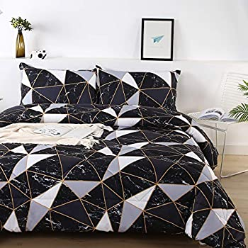 Litanika Black Marble Comforter Queen 90x90lnch  3 Pieces 1 Marble Comforter and 2 Pillowcases  White Grey Abstract Triangle Bedding Set Geometric Plaid Comforter Set for Teens Men Adults