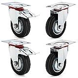 AMIGOB 4 pcs Ruedas de Transporte de 100 mm: 2 Ruedas Giratorias + 2 Ruedas Giratorias con Freno Capacidad de Carga 4*70 kg, 210 kg en Total