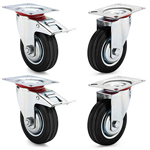 Ruote per mobili carichi pesanti Set da 4 Ruote 100mm - pivontanti con freno girevoli ruotabili a 360° Rotelle piroettanti fino 210kg, 2 ruote piroettanti + 2 ruote piroettanti con freno