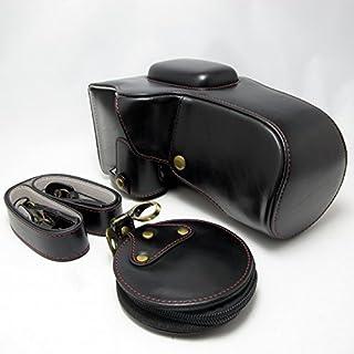 Nikon D5600 専用 セット商品 開閉式 ケース+レンズカバー+ショルダーストラップ+ポーチ+真鍮製カメラチャーム (18-140mm 対応) (ブラック)
