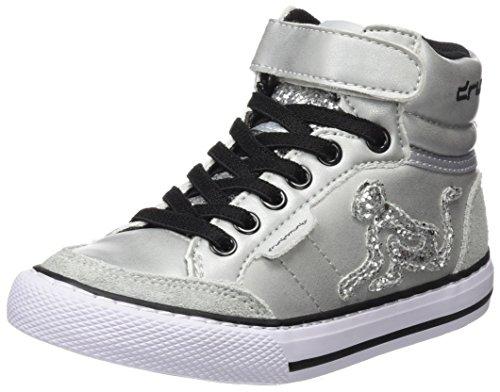 DrunknMunky Boston Rockstar, Sneaker a Collo Alto Bambina, Argento (Silver), 33 EU
