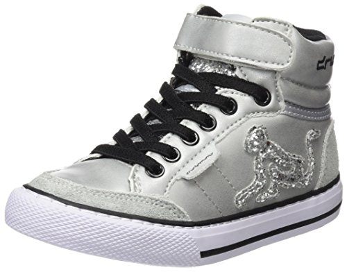 DrunknMunky Mädchen Boston Rockstar Hohe Sneaker, Silber (Silver K67), 33 EU