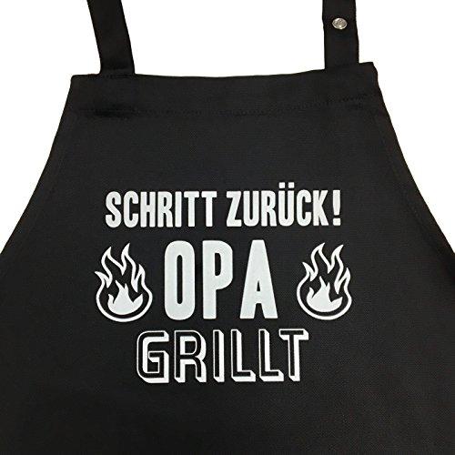 Schritt zurück! Opa grillt - Grillschürze für Männer lustig, Kochschürze - Geschenk Geschenkidee Opa Geburtstag Männer Ruhestand