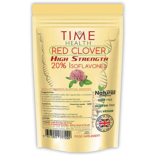 Red Clover Extract – High Strength – 20% Isoflavones – 60 Capsules – Vegan – No Fillers, Binders or Flow Agents – Pullulan Encapsulated (60 Capsule Pouch)