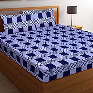 STARnSTYLE Boxes Printed 3D 140 TC Cotton Double Bedsheet with 2 Pillow Covers