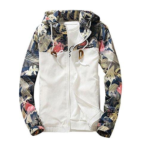 Ninasill Men Sweatshirt, ღ ღ Autumn&Winter Slim Stand Collar Jackets Fashion Sweatshirt (L, White)