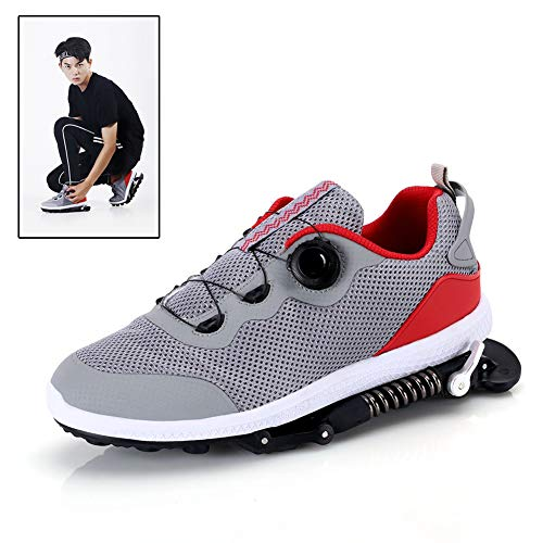 Zapatillas Deportivas de Aire para Correr con Amortiguador de muelles,Zapatillas de Deporte para Correr Unisex Gym Fitness Ligero, Gris,8