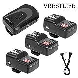 VBESTLIFE 433MHZ Set di Trigger per Flash Wireless a 16 canali: 1 trasmettitore + 3 ricevitori + 1 Cavo di sincronizzazione per Canon, Nikon, Pentax, Sigma, Vivitar e Altre unità Flash